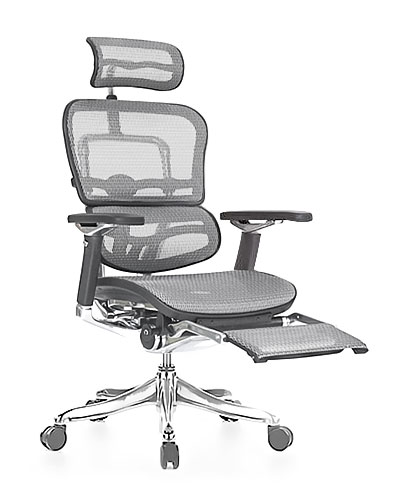 Ergohuman Luxury Grey Mesh with Legrest Office Chair Front View
