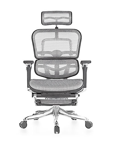 Ergohuman Luxury Grey Mesh with Legrest Office Chair Side View
